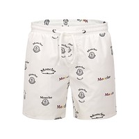 White MONCLER Beach Shorts Fashion Casual Summer Wear Holiday Vacation Ocean S07