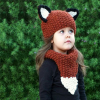 Children Knit Korean Cartoons Hat Scarf Fox Winter Beanie Baby Kid Animal Warm Cat Hat Hooded Scarf Earflap Knitted Wool Gift [9699363087]