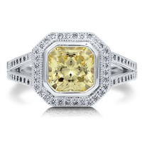 Sterling Silver 925 Princess Cut Canary Cubic Zirconia Twin Shank Ring #r552