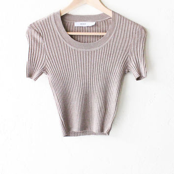 Scoop Neck Sweater Knit Crop Top - Taupe