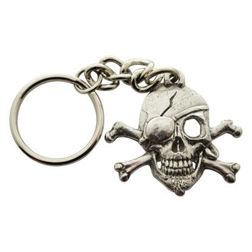 Skull and Crossbones Pirate Keychain ~ Antiqued Pewter ~ Keychain