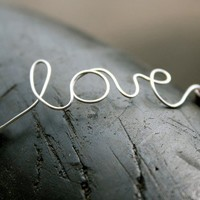 Love Bracelet :: Silver Handwritten Cursive Wire LOVE Bracelet with Brown Cotton Cord, Adjustable Closure, Crimp Beads
