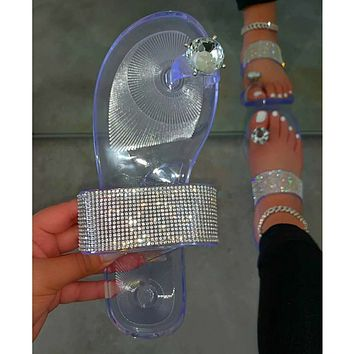 Hot sale diamond thumb diamond plus size slippers women shoes sandals slippers