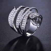 Unique Shaped White Gold Plated CZ Diamond Pave Cocktail Ring