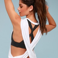 No Sweat White Backless Tank Top