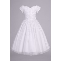 Girls Tulle Communion Dress w. Beaded Floral Appliques 5-14