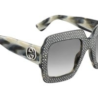 Authentic Gucci Oversized Crystal Trim Square Gradient Sunglasses GG0048S 001