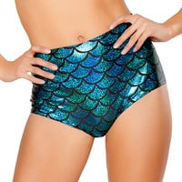 Turquoise Scale High-Waist Mermaid Short