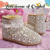 WINTER Bling and Sparkly Elegant White SheepSkin UGG Inspired Wool Boots w Pearls and Crystals - ZoeCrystal