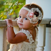 Fancy Vintage Headband-Ivory Lace Petti Romper SET-Baby Girl Outfit-Preemie-Newborn-Infant-Child-Toddler-Christmas Clothes-Baptism-Wedding