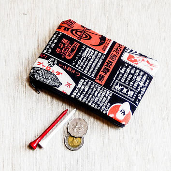 Japanese Print Ads Pouch, Coin Purse, Change Pouch, Fabric Pouch, Coin Purse, Zipper Pouch, Pouch, Unisex Gift, Father's Day Gift, Pouch