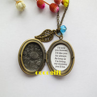 Always My Mommy Mother Gift Mother Necklace I'll Love You Forever Quote Locket Necklace leaf flower Necklace Bronze tone