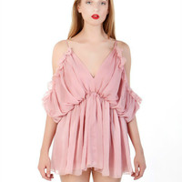 Spaghetti Strap Pleated Ruffle Dress