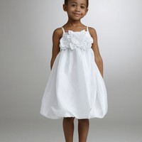 Taffeta Empire Bubble Dress with Floral Detail - David's Bridal