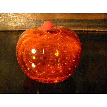 Orange Stem Glass Fruit Paperweight Bold Controlled Bubbles