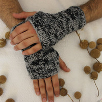 Hand Knitted Fingerless Gloves, Male gray gloves , gray gloves,Turkish handicrafts, Gift Ideas, For Her,Winter Accessories, Male Accessories