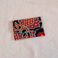 Boho Card Wallet Gypsy Paisley Red and Black
