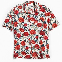 UO Wandering Rose Rayon Short Sleeve Button-Down Shirt | Urban Outfitters