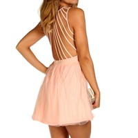 Pink Strappy Back Tulle Dress