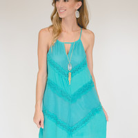 Sea Song Mesh/Lace Dress - Turquoise