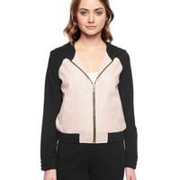Pitch Black Perforated Faux Leather Hood Bomber by Juicy Couture,