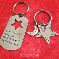 Personalized couples Keychains, His & Hers jewelry, hand stamped keyrings, love, dog tag, love you to the moon and back