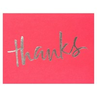 Silver Thanks Folded Thank You Cards