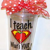 Personalized Teacher Gift tumbler 16oz BPA free