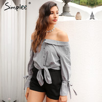 Off Shoulder Casual Striped Tops