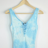 Tie Dye Lace Up Top - Candy Blue