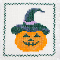 Happy Halloween: Jack O Lantern  Cross Stitch Pumpkin Hand  Embroidered Doily Table Decor Halloween Gift