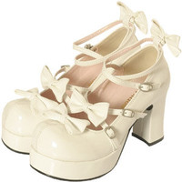 Gothic Lolita Shoes Charming Large Pattie Ribbon Heels Enamel Off White (shoes161)  [Cosmates]
