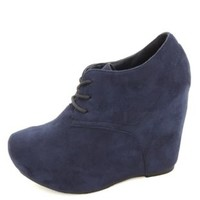 Lace-Up Platform Wedge Booties by Charlotte Russe - Navy