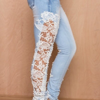 Fashion Women Jeans Pants Lace Floral Splice high Waist   Hollow out Casual Women's Denim Pencil Pants = 1930078276