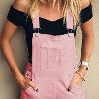 Pink Shoulder-Strap Pockets Overall Pants High Waisted Short Jumpsuit