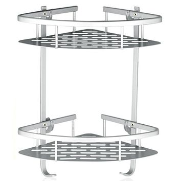 Lancher Bathroom Shelf (No Drilling) Durable Aluminum 2 Tiers Shower Shelf Kitchen Storage Basket Adhesive Suction Corner Shelves Shower Caddy Lancher Bathroom Shelf 2 Tiers