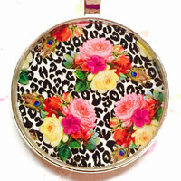 Leopard Print Necklace, Animal Print, Floral Necklace, Bright Jewelry, Botanical Image, Unique Jewelry, Resin Pendant, Gift for Women