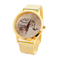 Girls Cutes Elephant Gold Alloy Strap Watches Fashion Women Casual Sports Watch Best Christmas Gift