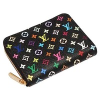 Fashion LV louis vuitton women s fashion clutch Zipper wallet Black Lv Print