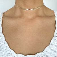 Delicate Gold Choker - Rose Gold Necklace - 18K Gold Plated - Gold Chain Choker - Bohemian Necklace - Layering Necklace