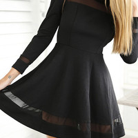 Black Mesh Details Round Neck Long Sleeves Mini Dress from mobile - US$23.95 -YOINS