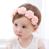 Baby Flower Headband Pink Ribbon Hair Bands Handmade DIY Headwear Hair accessories for Children born Toddler