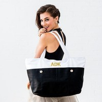 Large Black & White Canvas Tote Bag (Pack of 1)