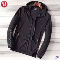 Lululemon New fashion solid color women men sports leisure hooded long sleeve coat windbreaker