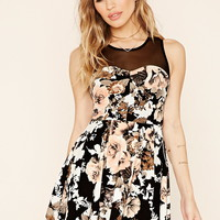 Pleated Floral Skater Dress