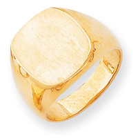 14k Yellow Gold Mens Solid Back Signet Ring