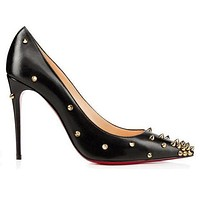 Christian Louboutin Fashion Edgy Rivets Pointed Heels Shoes-7