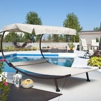 Del Rey Double Chaise Lounge with Canopy | www.hayneedle.com