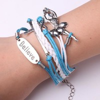 Rope Bracelet Blue and White Believe in Ballerinas
