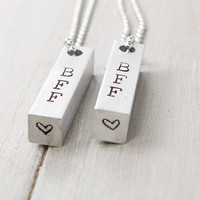 Best Friends Necklaces, BFF Necklaces, Friendship Necklaces, Hand Stamped Friends Necklace, Handstamped Jewelry, Personalized Jewelry,
